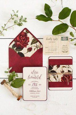 Thiệp cưới TGTD025 màu đỏ đô hiện đại