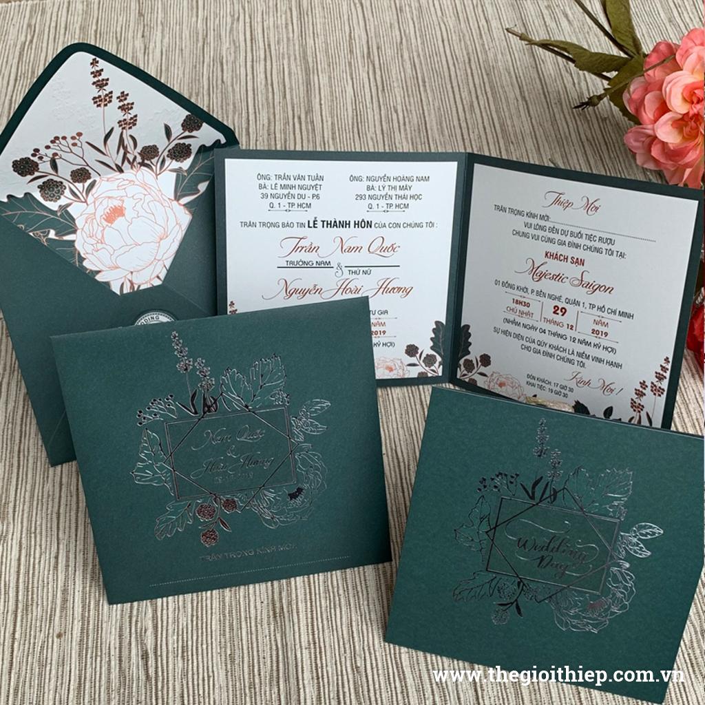 Thiệp đám cưới TGTGR2031 in hoa mặt trong ẩn hiện sang trọng lãng mạn