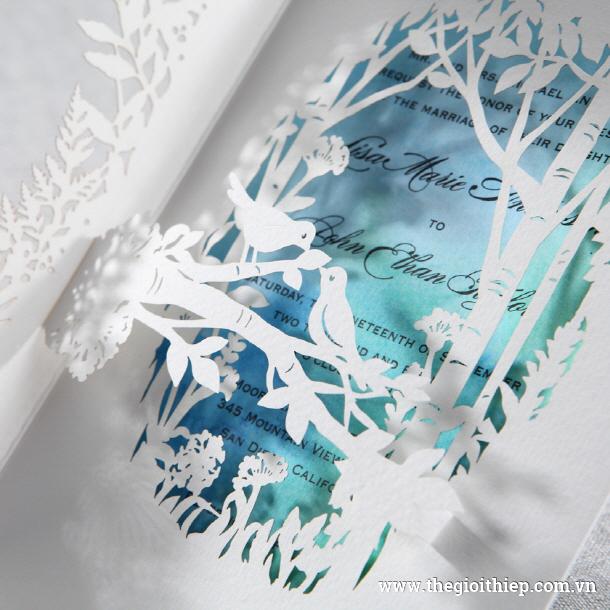 Thiệp đám cưới đẹp PK863 cắt laser khu rừng nghệ thuật