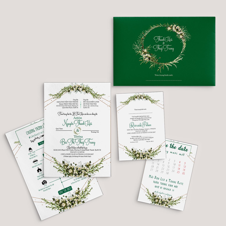 Thiệp cưới màu xanh lá MS 19-111 - Lubi Wedding Paper
