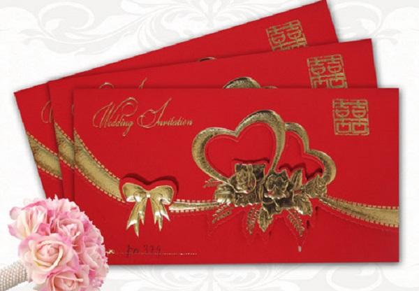 Mẫu thiệp cưới màu đỏ