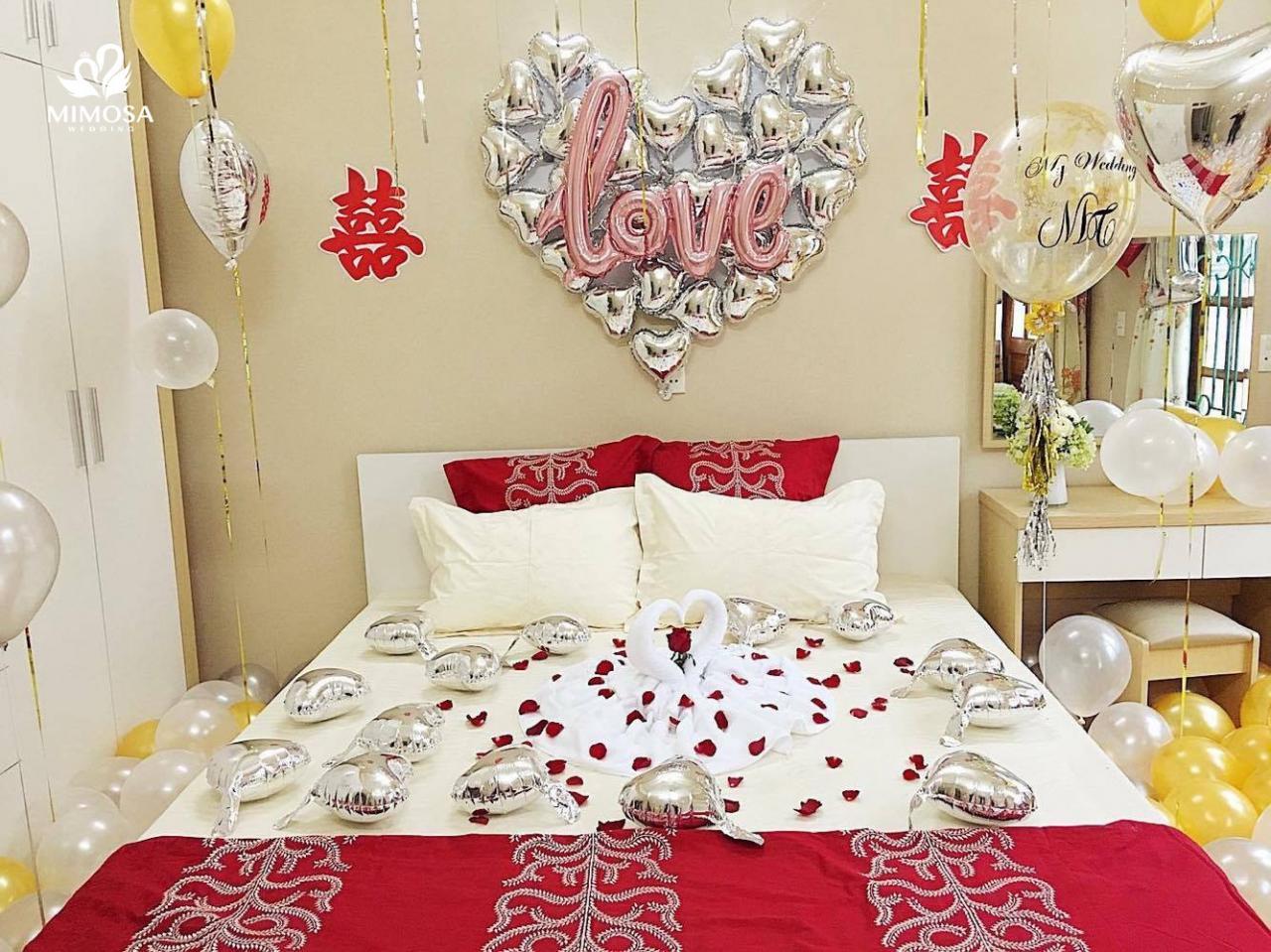 Ngây Ngất với 7+ mẫu trang trí phòng cưới đẹp, đơn giản!!